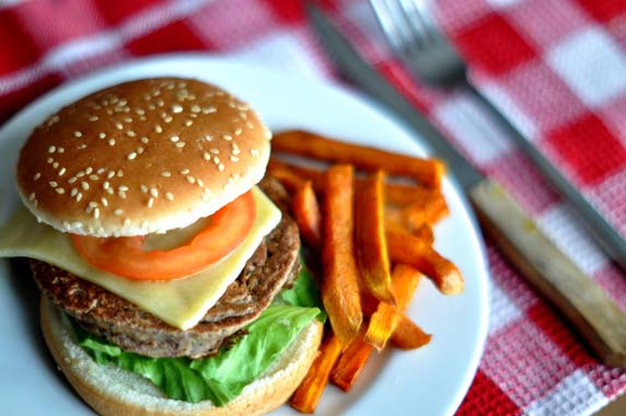 Vegetarian Red kidney bean Burgers served with Sweet Potato Fries