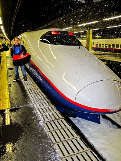 Day-1: Pete and a snowy Bullet train Tokyo Station