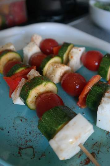 Barbecue Halloumi & Vegetable Kebabs4