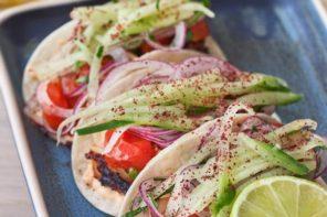 Food: Gyros mini tacos – Glazed pork belly, onion, yoghurt, paprika sauce (serves 4)